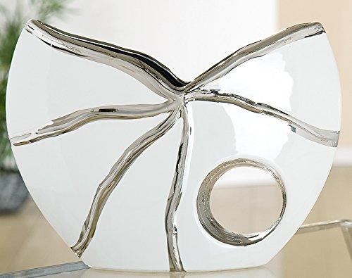 Gilde Vaso Moderno in Ceramica, Vaso da Tavolo, Vaso Decorativo con Foro, Bianco Platino, 19 x 27 x 8 cm
