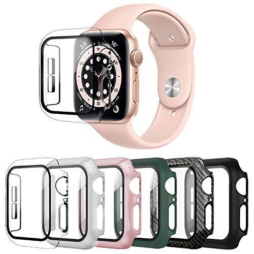 TEOV 6 unidades de carcasa rígida compatible con Apple Watch Series 6/5/4/SE 44 mm con cristal blindado, protector de pantalla ultrafino, carcasa de PC para iWatch Series 6/5/4/SE