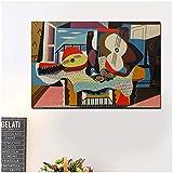 KUANGWENC Pablo Picasso Mandolina Y Guitarra Lienzo Pintura Cartel Impresión Mármol Pared Arte Pintura Cuadros Decoración Moderna Para El Hogar -24X36 Sin Marco