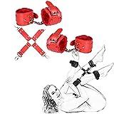 PU de cuero de la pulsera suave pulsera ajustable con cadena desmontable Hombres Mujeres (rojo)