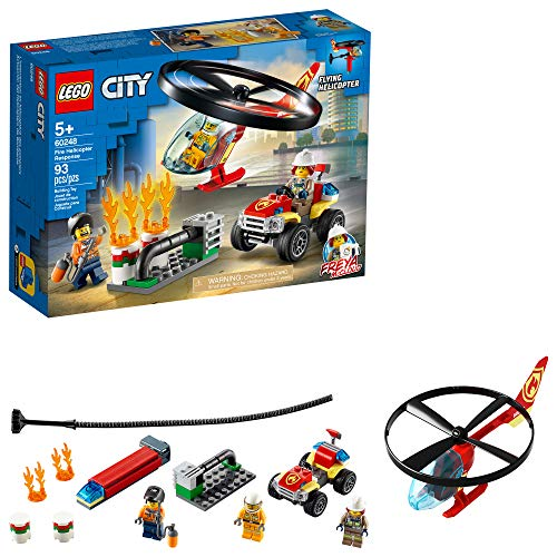 LEGO City Fire Helicopter Response 60248 Firefighter Toy, Fun Building Set for Kids (93 Pieces)