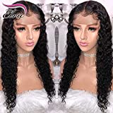 360 Lace Frontal Wig 180% Density Pre-Plucked Hairline 360 Lace Front Brazilian Remy Human Hair Wig Curly Hair Wig for Black Women (12inch with 180% density)