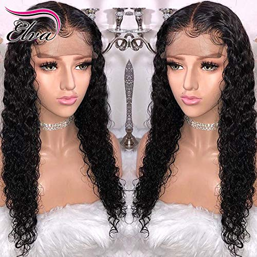 360 Lace Frontal Wig 180% Density Pre-Plucked Hairline 360 Lace Front Brazilian Remy Human Hair Wig Curly Hair Wig for Black Women (16inch with 180% density)