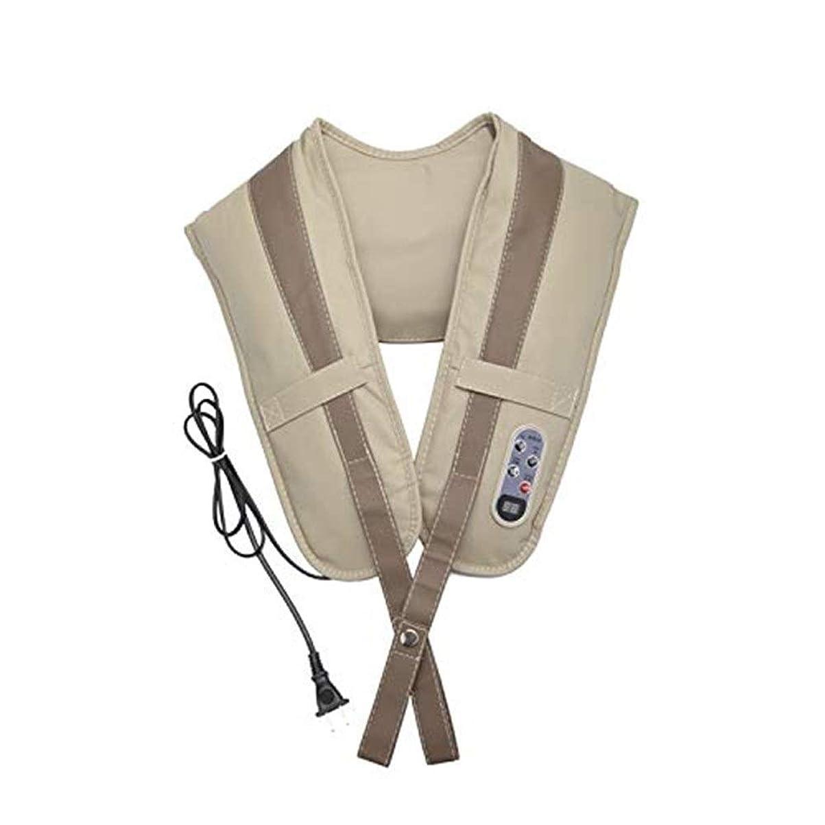 指頑張る欺マッサージ 指圧深さ混練マッサージ枕暖房、首、肩、背中、足と足のマッサージャー、ベージュ マッサージ クッション