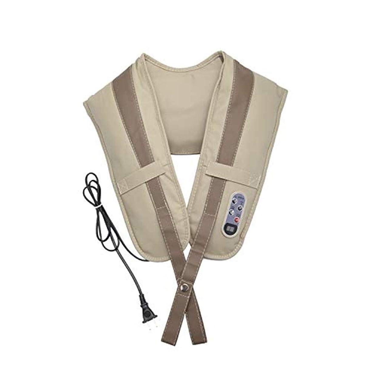の面ではに付ける完全に乾くマッサージ 指圧深さ混練マッサージ枕暖房、首、肩、背中、足と足のマッサージャー、ベージュ マッサージ クッション