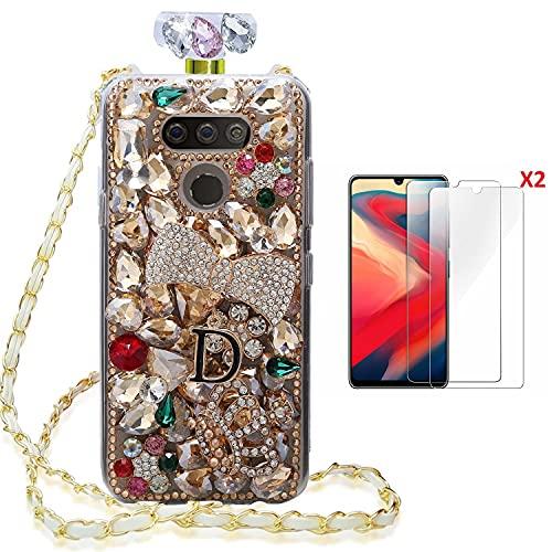 HFICY Bling Sparkle - Funda para botella de perfume con protector de pantalla y cordón, diseño de cristales de diamantes para mujer (para Samsung Galaxy S8 Plus, piedras doradas)