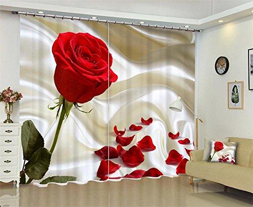 Vorhänge 3D Blackout Anti-UV, rote Rose drucken Solide thermische Fenster, Schlafzimmer Wohnzimmer Dekoration, Wide 2.20x high 1.80