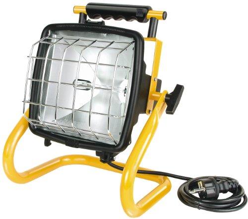 Brennenstuhl Halogenstrahler Brobusta / Flutlicht ideal als mobiler Baustrahler (Außenstrahler IP54 geprüft, 5m Kabellänge, 400 Watt) gelb