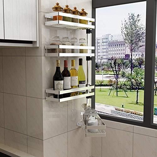 4 Etagen Küchenregal, Einstellbare Drehung Wandmontage Küchenregal Wand, Mehrlagiges 304 Edelstahl Gewürzregal Wand, Freies Lochen(Größe: 36CM*11.5CM*65CM)