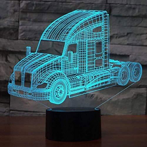 QB Nachtlicht, 3D-Illusion Cartoon, Nachtlicht LKW Bus Mixer Container-LKW Feuerwehrauto 3D-LED-Nachtlichter for Kinder Touch-USB-Nachtlicht