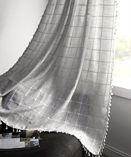 YoKii Boho Curtains for Bedroom 84-Inch Modern Farmhouse Cotton Linen Embroidery Tassel Window Curtain Panels Semi-Transparent Geometric Trellis Draperies Living Room Decor (Pairs 52W x 84L, Grey)