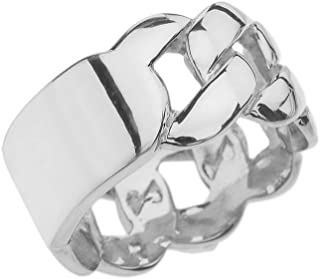 Sterling Silver Personalized ID Engravable Cuban Link Band/Ring