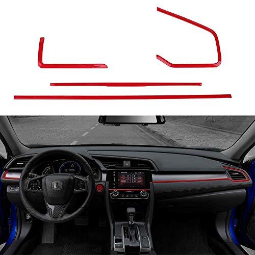 L&U 4Pcs Mittelkonsolen-Panel Aufkleber Armaturenbrett Borte Streifen Inner Abziehbilder für 10. Gen Honda Civic 2016-2019,Rot
