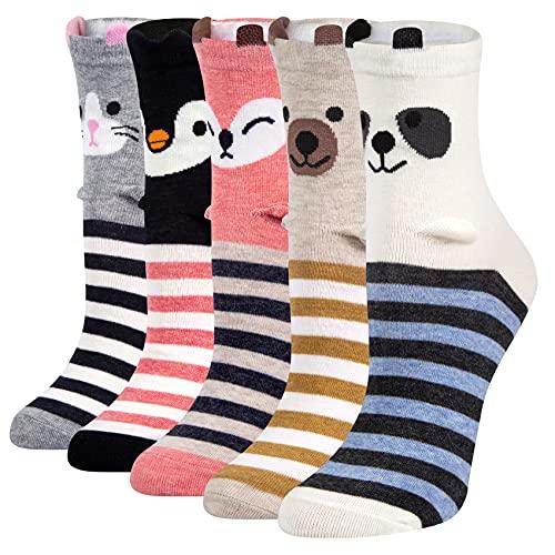 Chalier 5 Paar Socken Damen Lustige Bunte Socken Lange Baumwollsocken, Katzen Und H&esocken