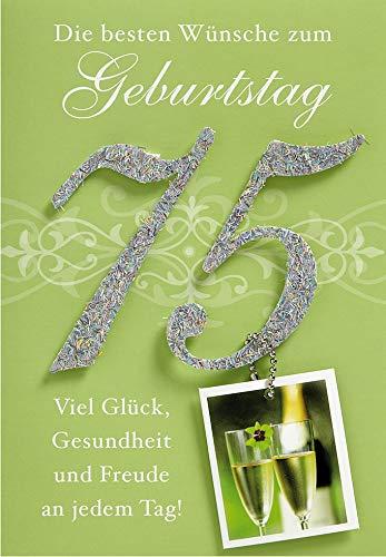 Geburtstagskarte zum 75. Geburtstag Lifestyle - Zahl, Anhänger - 11,6 x 16,6 cm
