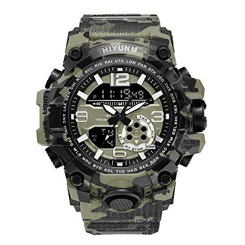 Reloj electrónico luminoso, deportes militares al aire libre para hombres, relojes pulsera cuarzo con doble pantalla, reloj pulsera electrónico resistente al agua 5 ATM, cronógrafo digital analógico