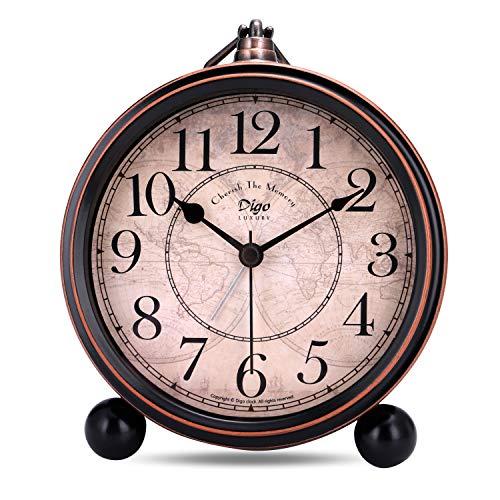 Lafocuse 13.3cm Despertador Analógico Metal Grandes Vintage de Noche Reloj de Mesa Silencioso Negro para Infantil Dormilones
