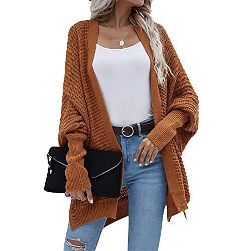 Cárdigan de punto de estilo suelto para mujer, color sólido, manga larga, frente abierto, sudadera con capucha, marrón claro, M