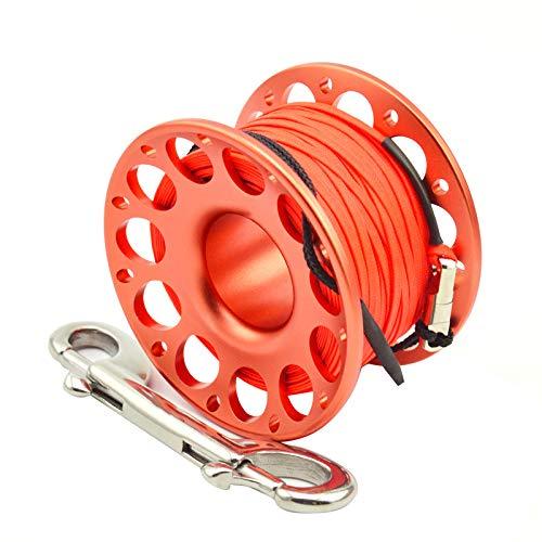 No application Bobina de aleación de aluminio Dedo bobina Buceo Tech carrete de acero inoxidable doble extremo gancho carrete para buceo