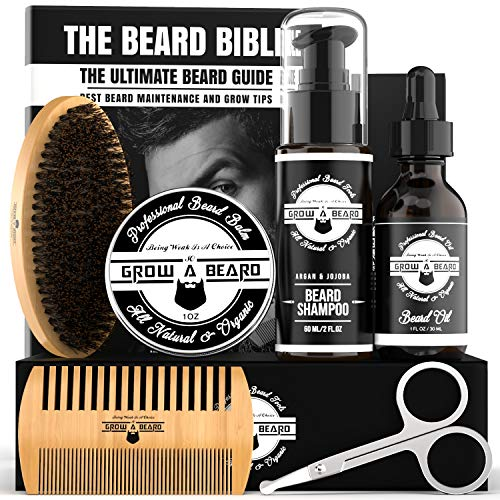 Beard Kit For Men Grooming & Care | Trimming Tool Set w/Beard Wash Shampoo | Complete Beard Grooming Kit, Growth Oil, Balm, Brush, Comb & Scissors w/Gift Box Package, Perfect Men's Grooming Kit Gifts