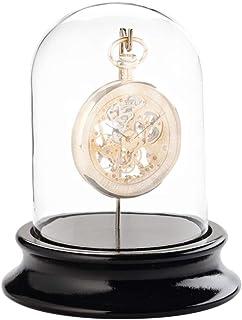 Domo in vetro con gancio, per conservare orologi da taschino, senza polvere, base in legno con finitura nera pianolo (diam...