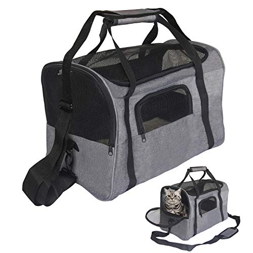 ISFC Pet Travel Carrier Bag - Breathable Soft-Sided Mesh Safe Medium Bag for Small Pets Cats Dogs Collapsible Portable Outdoor Travel Puppy Carrier Package