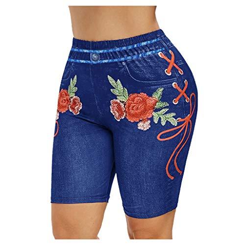 Leggings Yoga Shorts Femmes Basique Slip Bike Shorts Compression Workout Dames Leggings imprimés Collants de Sport (XL,Bleu)