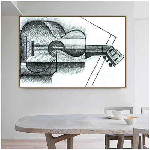 Juan Gris Viejo Famoso Maestro Artista español La guitarra Lienzo Pintura Impresión del cartel para la sala Decoración de la pared Arte de la pared-50x70cm-Sin marco