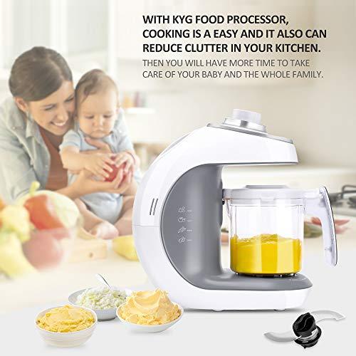 Babynahrungszubereiter KYG BFP-1800MT 5 in 1 Dampfgarer und Mixer für Babynahrung mit Dampfgaren Mixen Erwärmen Auftauen und Sterilisieren 220-240 V Baby Küchenmaschine (weiß) - 9