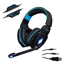ゲーマーヘッドセット AFUNTA EACH G4000 ステレオ 3.5mm USB ゲーミングヘッドフォン pc用 ヘッドセット LEDライト付 PC タブレット スマホ 携帯対応 ブラック&ブルー