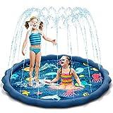 Uiter Tappetino da gioco Sprinkle e Splash,materassino gonfiabile blu con doccetta, il gioco acquatico estivo perfetto perbambini/ragazzi/ragazze/bambini/cani/gatti e animali domestici | 150 cm