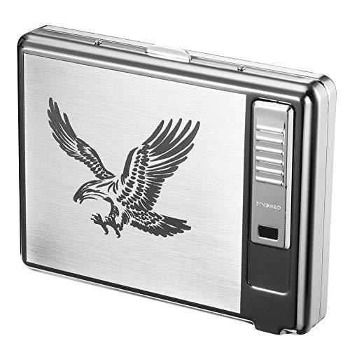 シガレットケース USB充電 ライター 付き キングサイズ 20本収納 タバコケース 紳士用 [並行輸入品]