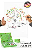 Fingerabdruck Leinwand 45x30 INKL Zubehör-Set GRATIS - Wishingtree Gäste -