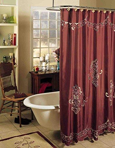 Creative Linens Valencia Cutwork Embroidery Fabric Shower Curtain Burgundy Holiday