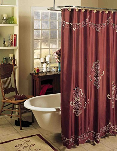 Creative Linens Valencia Cutwork Embroidery Fabric Shower Curtain Burgundy Holiday