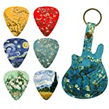 Guitar Picks - LIZIMANDU 12 Medium Gauge Celluloid Guitar Picks In Guitar Shaped Picks Holder. Unique Guitar Gift For Bass, Electric & Acoustic Guitars (Peach Blossom1)