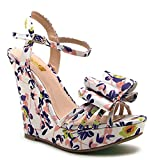 Qupid White Blush Floral Wedge Heel Bow décor Women's Shoes Glory-174x Size 8