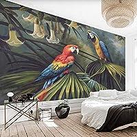 3D写真森オウム手描き油絵レトロモダンなリビングルーム寝室ソファテレビ背景壁壁画壁紙-350x256cm