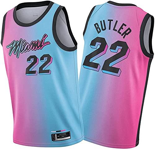 Movement Ṃiaṃi Ḥeaṭ Jiṃmy Ḅutlẹr 22# Camisetas De Baloncesto para Hombre, Chaleco Deportivo De Uniforme De Baloncesto Swingman De Edición De Ciudad 20-21 Pink(Size:/M,Color:G1)