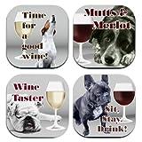 4WoodenShoes Pups N' Wine Coaster Set
