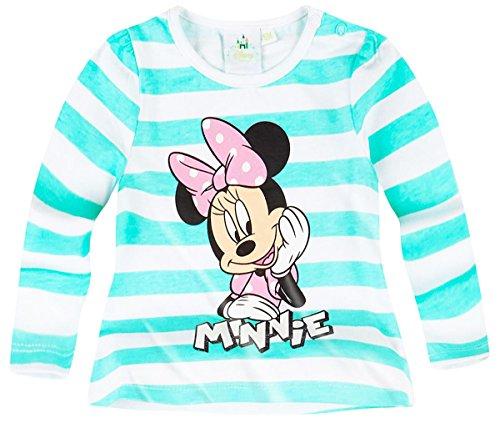 Tee shirt manches longues bébé fille Minnie Rayé Blanc/vert de 3 à 24mois (12 mois)