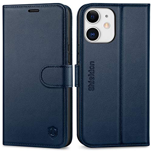SHIELDON Case for iPhone 12 Mini, Genuine Leather Wallet Case Flip Magnetic Cover RFID Blocking Card Slots Carry-All with Kickstand Shockproof Case Compatible with iPhone 12 Mini(5.4 2020) - Navy Blue