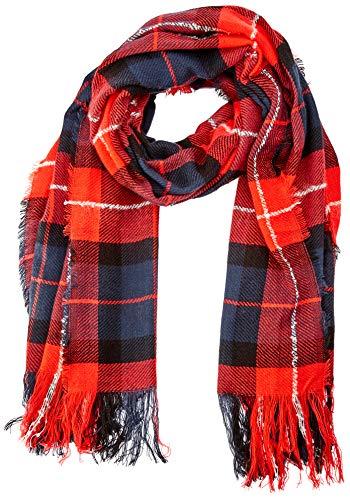 TOM TAILOR Damen karrierter Strickschal Schal, Mehrfarbig (Red Blue Check 13895), One Size