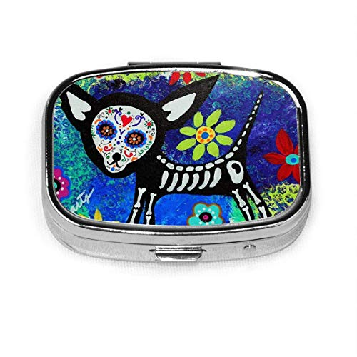 Chihuahua Tag des toten Quadrats Pillenetui Tragbare Box Tasche Geldbörse Tablet Medizinhalter Reiseveranstalter Fälle