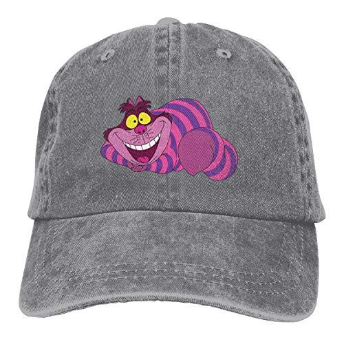 linranshangmao Erwachsene Denim-Kappe Grinsekatze Unisex Verstellbare Mütze für Männer Frauen Gr. Einheitsgröße, grau