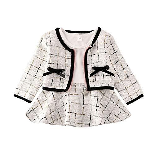 Chloefairy Kleinkinder Baby Mädchen Bekleidung Kleid Set Kurz Jacke Lang Langarm Prinzessin Kleid A Linie Rock Elegant Festlich Weihnachten Hochzeit Outfit (Form E-Weiß, 80)