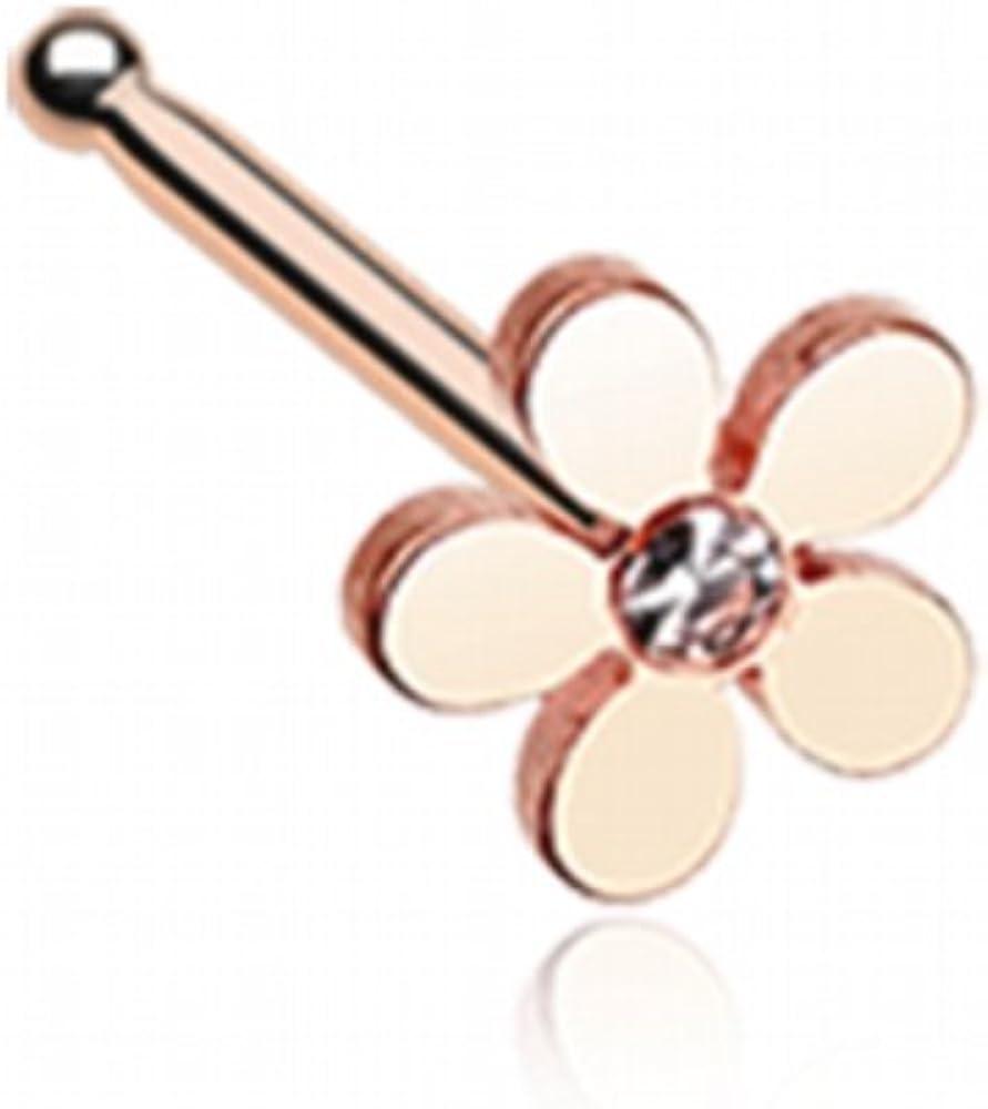 WildKlass Jewelry Golden New item Grand Plumeria Ring Surg Nose 316L Indefinitely Stud