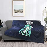 TezukaOsamu Hatsune Miku Flannel Blanket,Throw Soft Warm Fluffy Plush,Lightweight Microfiber for Bed Couch Chair Living Room 50 x 40 inches