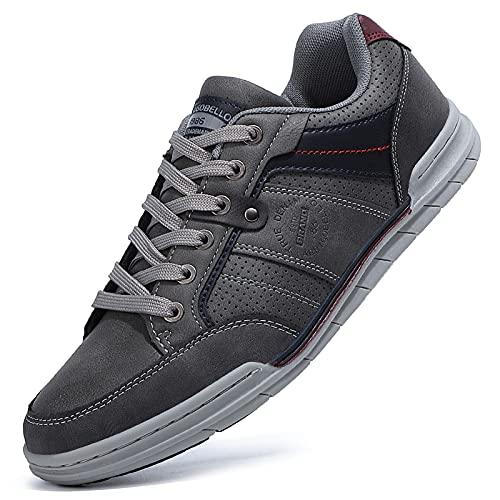 TARELO Zapatillas Casual Hombre Zapatos Deportivas Bajas Running Transpirable Senderismo Sneaker Gimnasia Tamaño 41-46(Gris, Numeric_41)