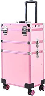 Professional Trolley Cosmetic Case Manicurist Makeup Artist Cosmetic Case With Lights, Multi-Layer Detachable Design Full-Screen Mirror Touch Screen, 38 * 25 * 71cm,Pink